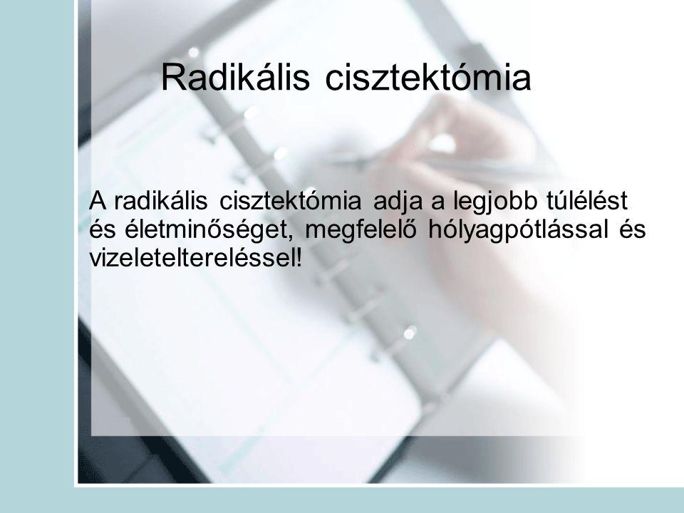 Radikális cisztektómia A radikális cisztektómia adja a legjobb túlélést és életminőséget, megfelelő hólyagpótlással és vizeleteltereléssel!