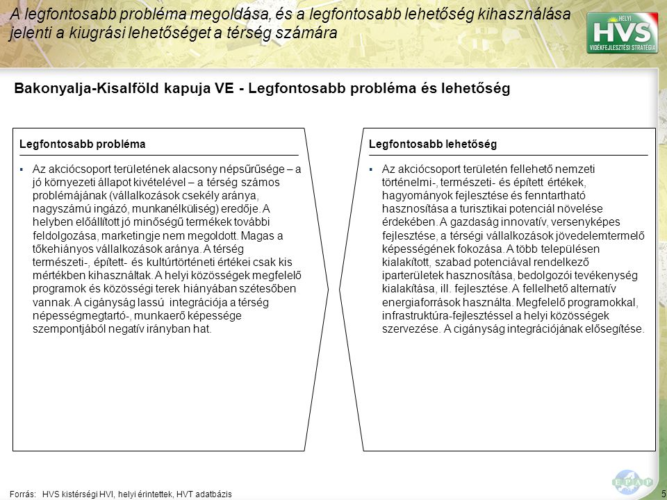 5 Bakonyalja-Kisalföld kapuja VE - Legfontosabb probléma és lehetőség A legfontosabb probléma megoldása, és a legfontosabb lehetőség kihasználása jelenti a kiugrási lehetőséget a térség számára Forrás:HVS kistérségi HVI, helyi érintettek, HVT adatbázis Legfontosabb problémaLegfontosabb lehetőség ▪Az akciócsoport területének alacsony népsűrűsége – a jó környezeti állapot kivételével – a térség számos problémájának (vállalkozások csekély aránya, nagyszámú ingázó, munkanélküliség) eredője.