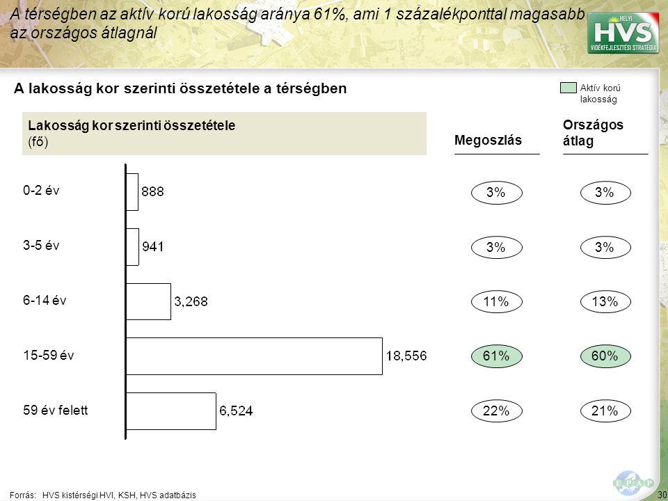30 Forrás:HVS kistérségi HVI, KSH, HVS adatbázis A lakosság kor szerinti összetétele a térségben A térségben az aktív korú lakosság aránya 61%, ami 1 százalékponttal magasabb az országos átlagnál Lakosság kor szerinti összetétele (fő) Megoszlás 3% 61% 22% 11% Országos átlag 3% 60% 21% 13% Aktív korú lakosság 0-2 év 3-5 év 6-14 év 15-59 év 59 év felett