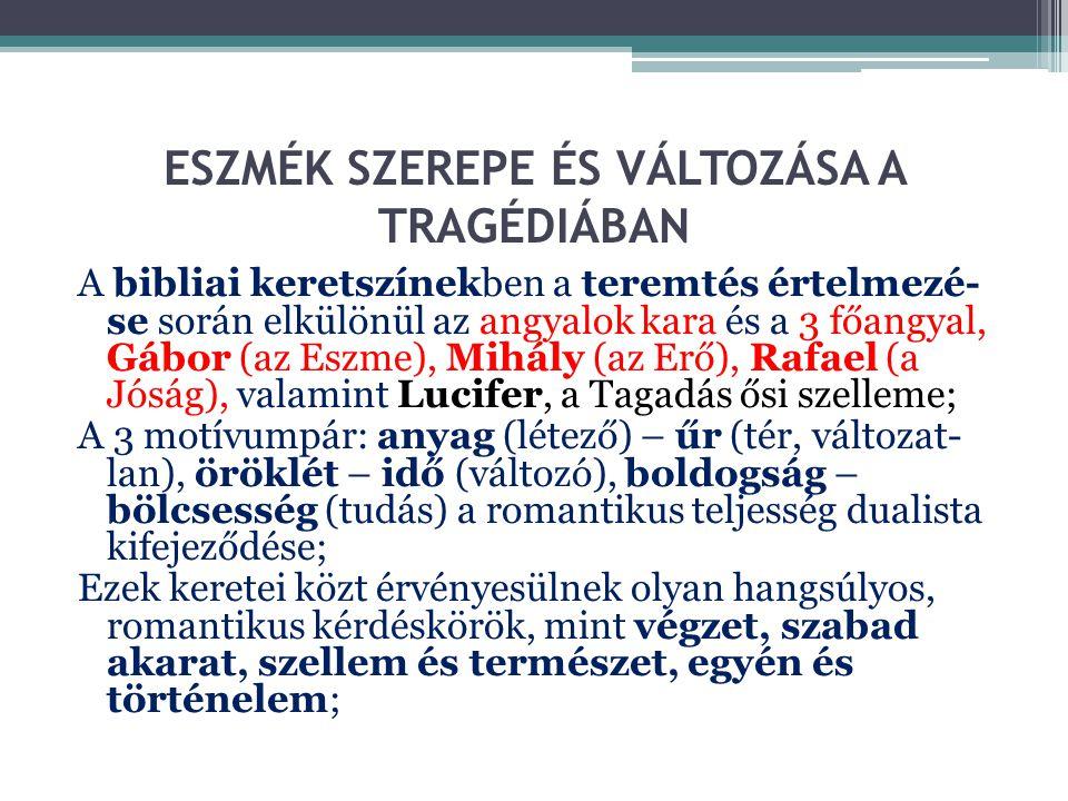 ESZMÉK SZEREPE ÉS VÁLTOZÁSA A TRAGÉDIÁBAN A bibliai keretszínekben a teremtés értelmezé- se során elkülönül az angyalok kara és a 3 főangyal, Gábor (a