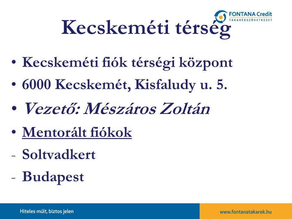 Kecskeméti térség Kecskeméti fiók térségi központ 6000 Kecskemét, Kisfaludy u.