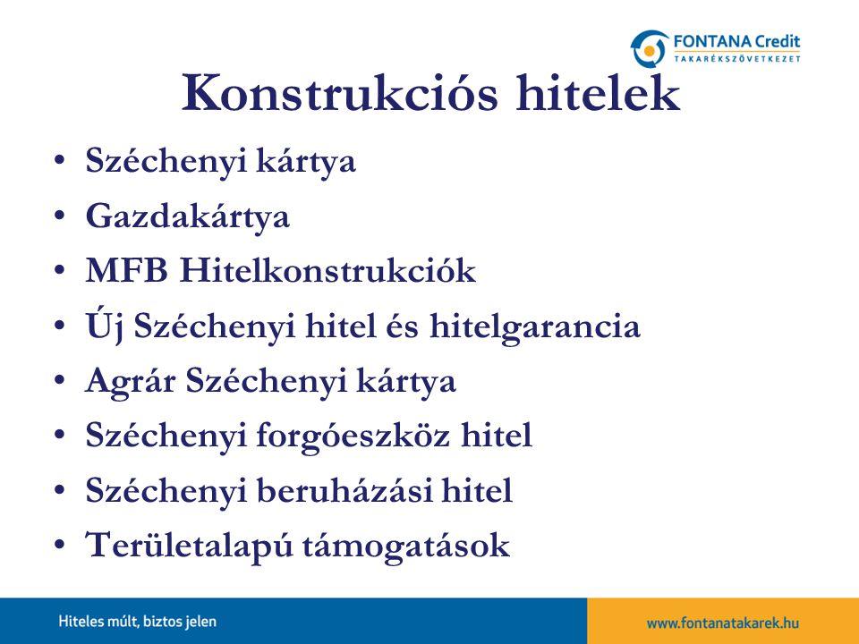 Konstrukciós hitelek Széchenyi kártya Gazdakártya MFB Hitelkonstrukciók Új Széchenyi hitel és hitelgarancia Agrár Széchenyi kártya Széchenyi forgóeszköz hitel Széchenyi beruházási hitel Területalapú támogatások