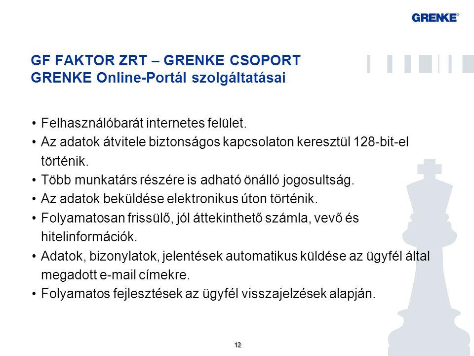 12 GF FAKTOR ZRT – GRENKE CSOPORT GRENKE Online-Portál szolgáltatásai Felhasználóbarát internetes felület. Az adatok átvitele biztonságos kapcsolaton