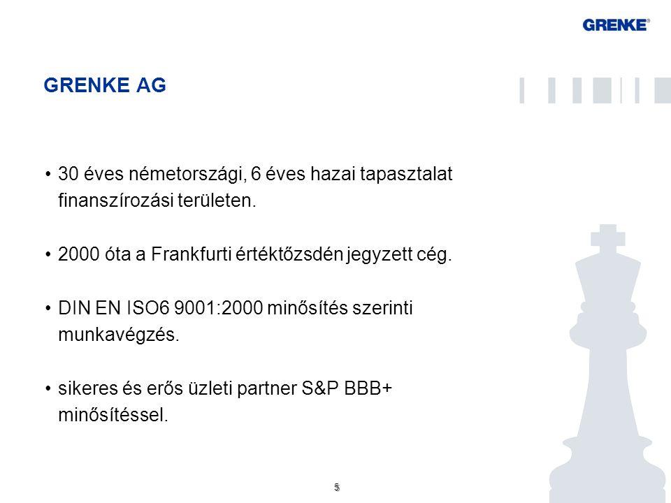 5 5 GRENKE AG 30 éves németországi, 6 éves hazai tapasztalat finanszírozási területen. 2000 óta a Frankfurti értéktőzsdén jegyzett cég. DIN EN ISO6 90