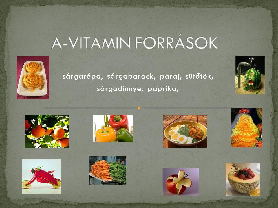 sárgarépa, sárgabarack, paraj, sütőtök, sárgadinnye, paprika,