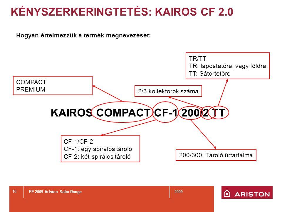 EE 2009 Ariston Solar Range2009 10 KÉNYSZERKERINGTETÉS: KAIROS CF 2.0 Hogyan értelmezzük a termék megnevezését: KAIROS COMPACT CF-1 200/2 TT 200/300: Tároló űrtartalma 2/3 kollektorok száma TR/TT TR: lapostetőre, vagy földre TT: Sátortetőre CF-1/CF-2 CF-1: egy spirálos tároló CF-2: két-spirálos tároló COMPACT PREMIUM