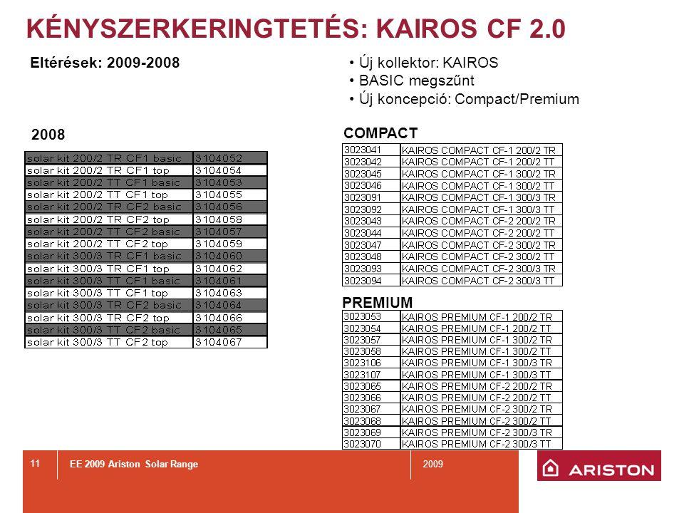 EE 2009 Ariston Solar Range2009 11 KÉNYSZERKERINGTETÉS: KAIROS CF 2.0 2008 PREMIUM Eltérések: 2009-2008 COMPACT Új kollektor: KAIROS BASIC megszűnt Új koncepció: Compact/Premium
