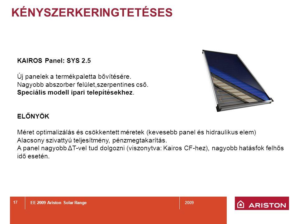 EE 2009 Ariston Solar Range2009 17 KÉNYSZERKERINGTETÉSES KAIROS Panel: SYS 2.5 Új panelek a termékpaletta bővítésére.