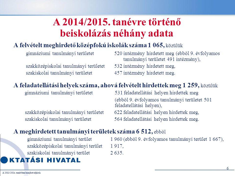 7 Nyelvi előkészítő évfolyamot meghirdető iskolák száma 281 (ez a középiskolák 30,6%-a) Közülük csak gimnáziumi tanulmányi területet 201 intézmény hirdetett meg, csak szakközépiskolai tanulmányi területet 73 intézmény hirdetett meg, gimnáziumi és szakközépiskolai tanulmányi területet is 7 intézmény hirdetett meg.