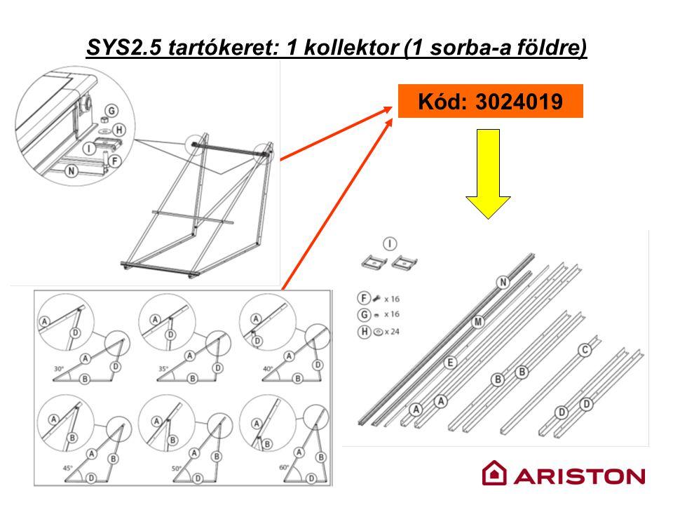 SYS2.5 tartókeret: 1 kollektor (1 sorba-a földre) Kód: 3024019
