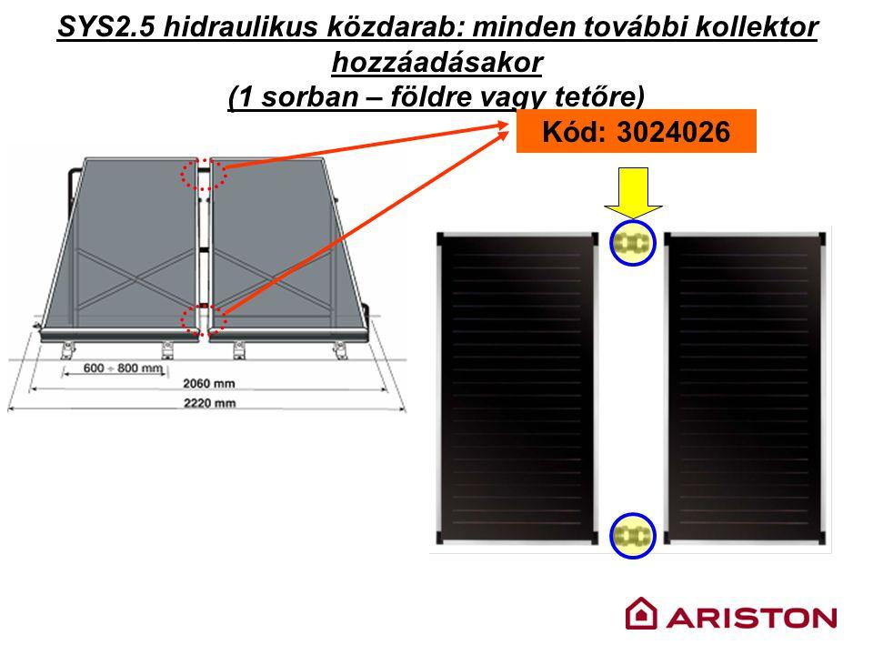 SYS2.5 hidraulikus közdarab: minden további kollektor hozzáadásakor (1 sorban – földre vagy tetőre) Kód: 3024026