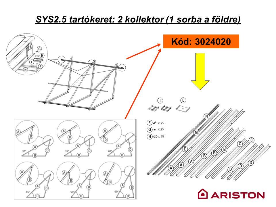 SYS2.5 tartókeret: 2 kollektor (1 sorba a földre) Kód: 3024020