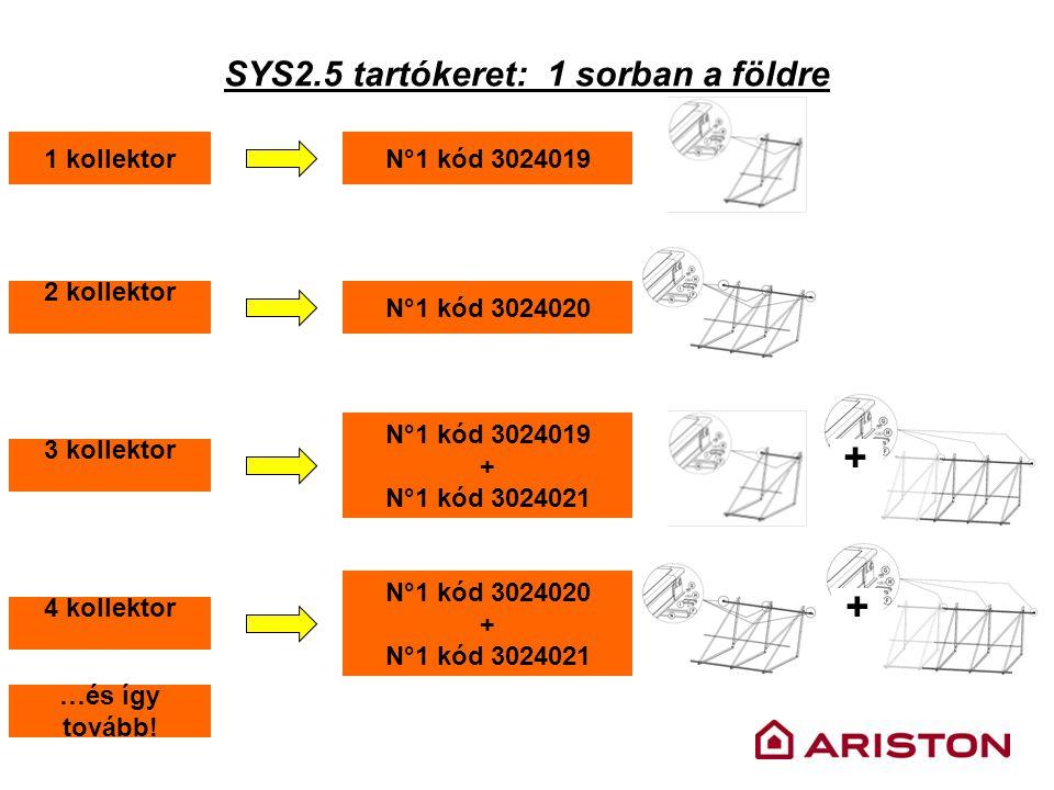 SYS2.5 tartókeret: 1 sorban a földre 1 kollektorN°1 kód 3024019 2 kollektor N°1 kód 3024020 3 kollektor N°1 kód 3024019 + N°1 kód 3024021 + 4 kollekto
