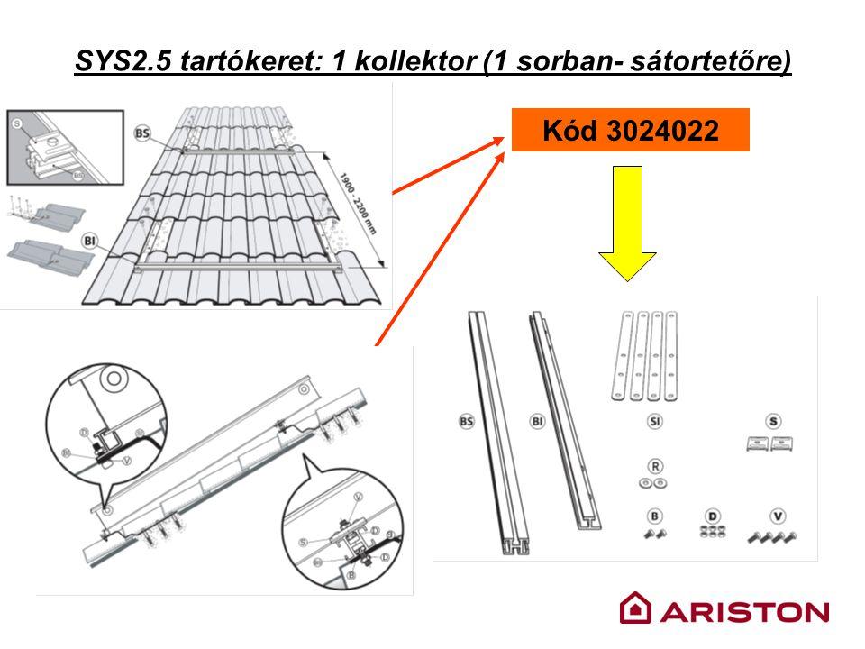 SYS2.5 tartókeret: 1 kollektor (1 sorban- sátortetőre) Kód 3024022