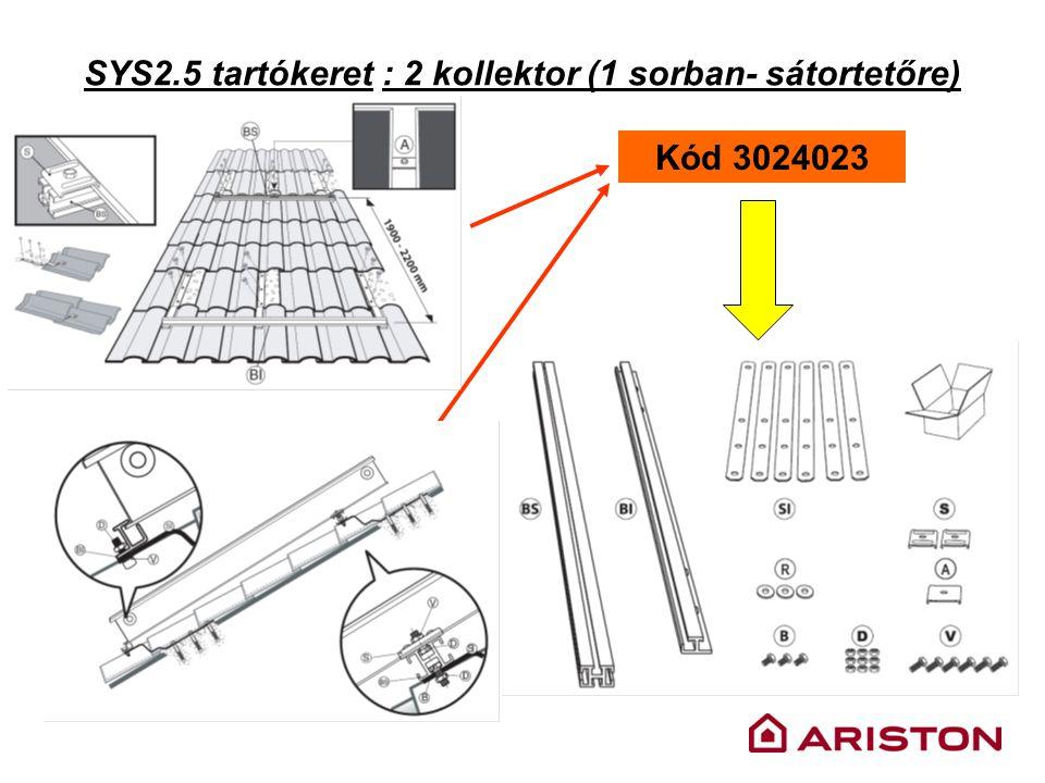 SYS2.5 tartókeret : 2 kollektor (1 sorban- sátortetőre) Kód 3024023