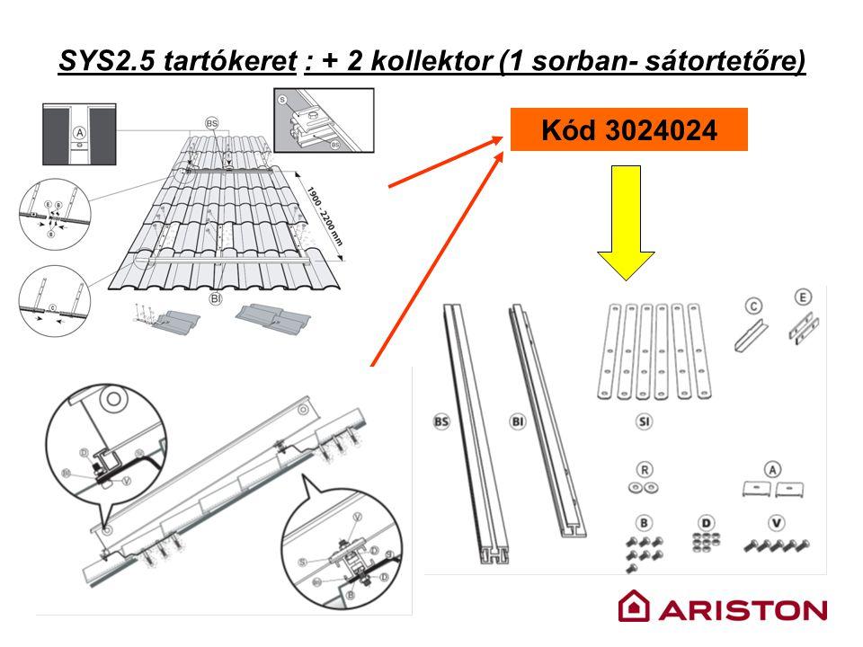 SYS2.5 tartókeret : + 2 kollektor (1 sorban- sátortetőre) Kód 3024024