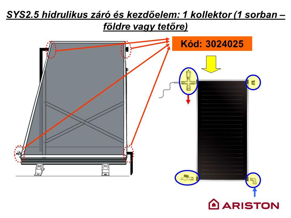 SYS2.5 hidrulikus záró és kezdőelem: 1 kollektor (1 sorban – földre vagy tetőre) Kód: 3024025
