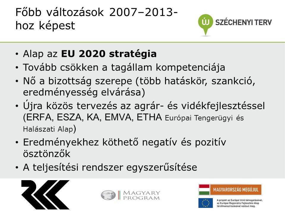 Alap az EU 2020 stratégia Tovább csökken a tagállam kompetenciája Nő a bizottság szerepe (több hatáskör, szankció, eredményesség elvárása) Újra közös tervezés az agrár- és vidékfejlesztéssel (ERFA, ESZA, KA, EMVA, ETHA Európai Tengerügyi és Halászati Alap ) Eredményekhez köthető negatív és pozitív ösztönzők A teljesítési rendszer egyszerűsítése Főbb változások 2007–2013- hoz képest