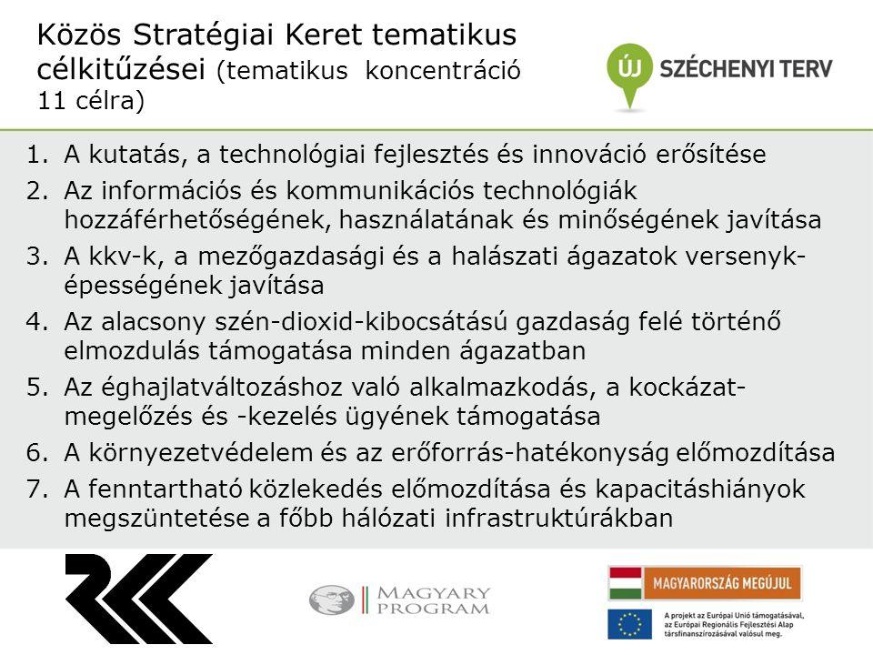 1.A kutatás, a technológiai fejlesztés és innováció erősítése 2.Az információs és kommunikációs technológiák hozzáférhetőségének, használatának és min
