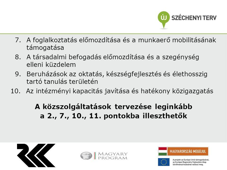 7.A foglalkoztatás előmozdítása és a munkaerő mobilitásának támogatása 8.A társadalmi befogadás előmozdítása és a szegénység elleni küzdelem 9.Beruház