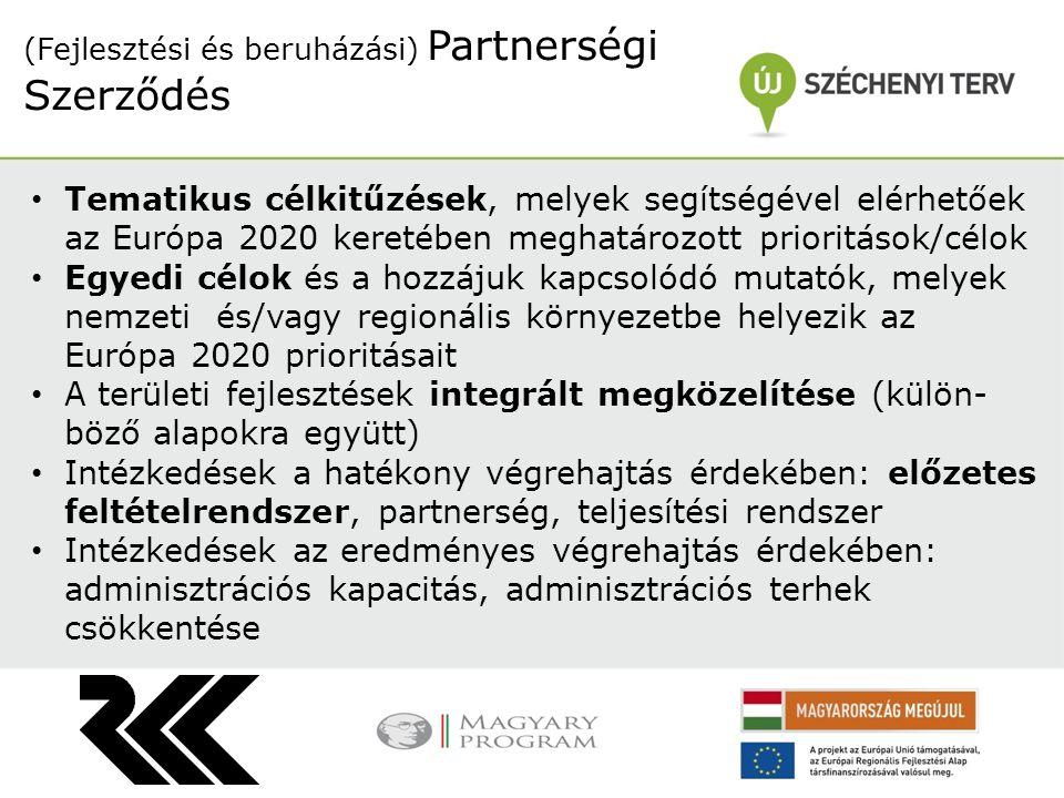 Tematikus célkitűzések, melyek segítségével elérhetőek az Európa 2020 keretében meghatározott prioritások/célok Egyedi célok és a hozzájuk kapcsolódó mutatók, melyek nemzeti és/vagy regionális környezetbe helyezik az Európa 2020 prioritásait A területi fejlesztések integrált megközelítése (külön- böző alapokra együtt) Intézkedések a hatékony végrehajtás érdekében: előzetes feltételrendszer, partnerség, teljesítési rendszer Intézkedések az eredményes végrehajtás érdekében: adminisztrációs kapacitás, adminisztrációs terhek csökkentése (Fejlesztési és beruházási) Partnerségi Szerződés