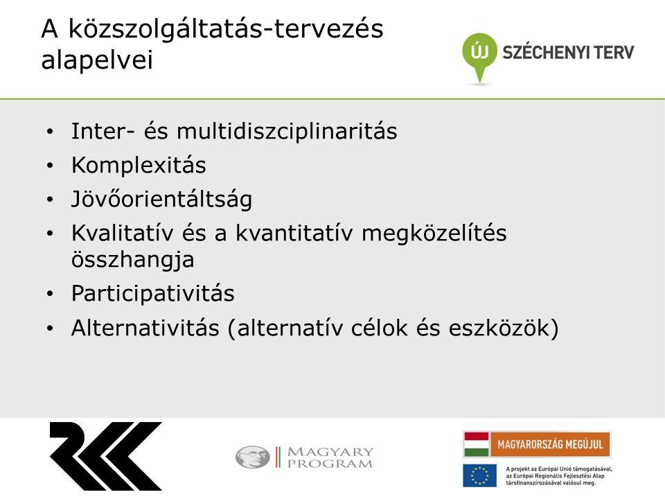 Inter- és multidiszciplinaritás Komplexitás Jövőorientáltság Kvalitatív és a kvantitatív megközelítés összhangja Participativitás Alternativitás (alternatív célok és eszközök) A közszolgáltatás-tervezés alapelvei