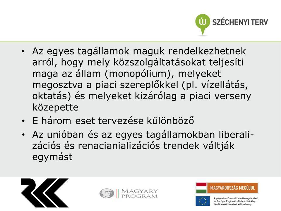 Az egyes tagállamok maguk rendelkezhetnek arról, hogy mely közszolgáltatásokat teljesíti maga az állam (monopólium), melyeket megosztva a piaci szereplőkkel (pl.
