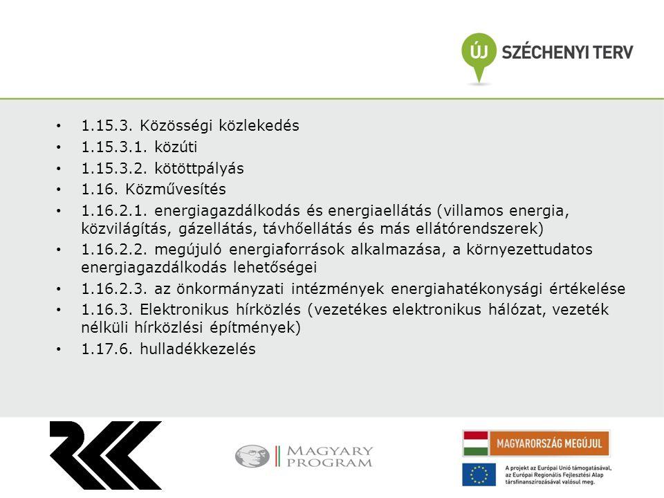 1.15.3. Közösségi közlekedés 1.15.3.1. közúti 1.15.3.2. kötöttpályás 1.16. Közművesítés 1.16.2.1. energiagazdálkodás és energiaellátás (villamos energ
