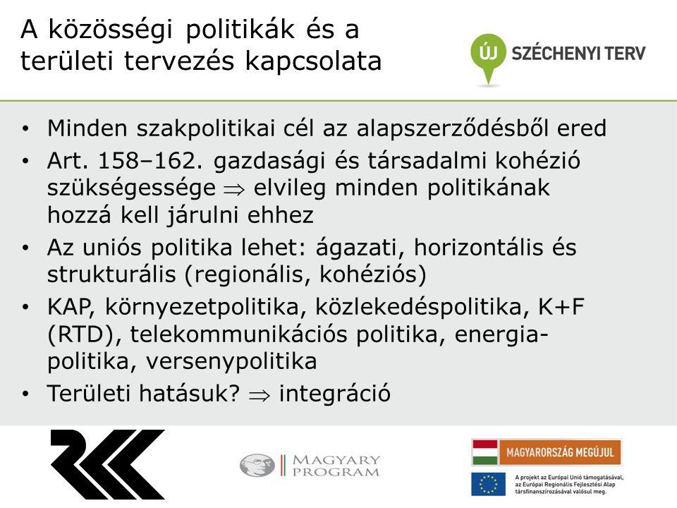 Minden szakpolitikai cél az alapszerződésből ered Art. 158–162. gazdasági és társadalmi kohézió szükségessége  elvileg minden politikának hozzá kell