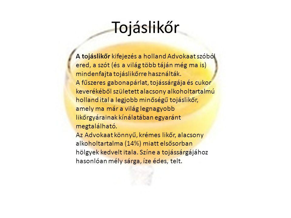 Tojáslikőr A tojáslikőr kifejezés a holland Advokaat szóból ered, a szót (és a világ több táján még ma is) mindenfajta tojáslikőrre használták. A fűsz