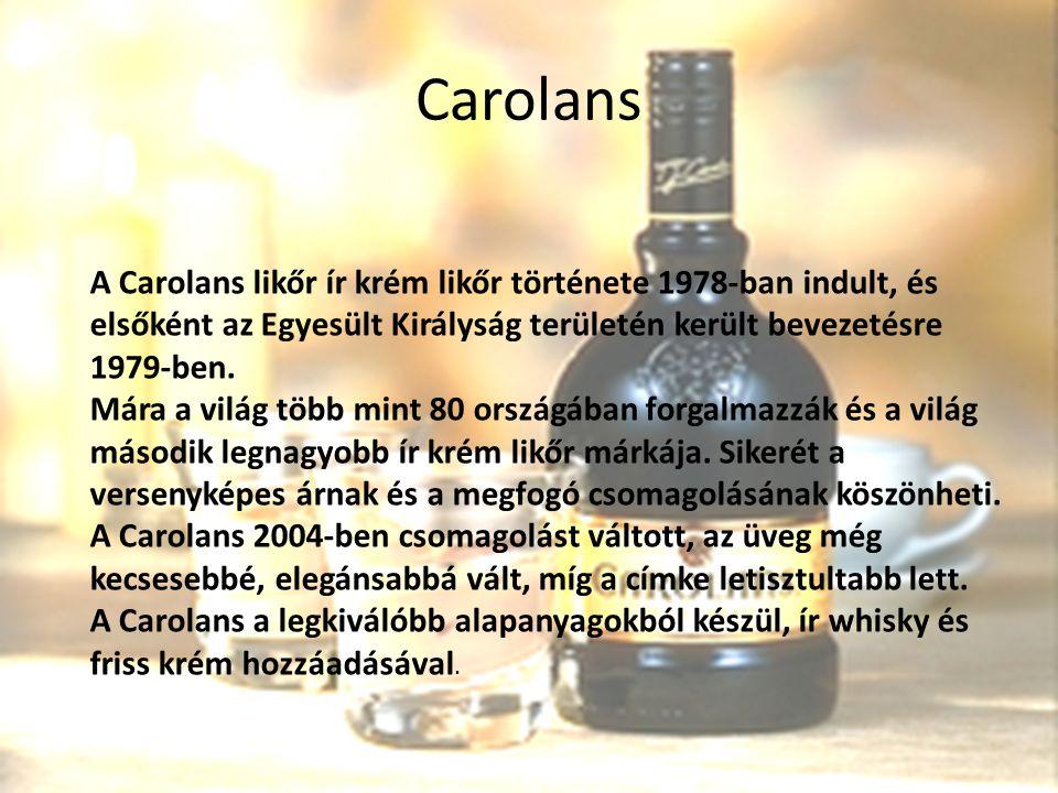 Carolans A Carolans likőr ír krém likőr története 1978-ban indult, és elsőként az Egyesült Királyság területén került bevezetésre 1979-ben. Mára a vil
