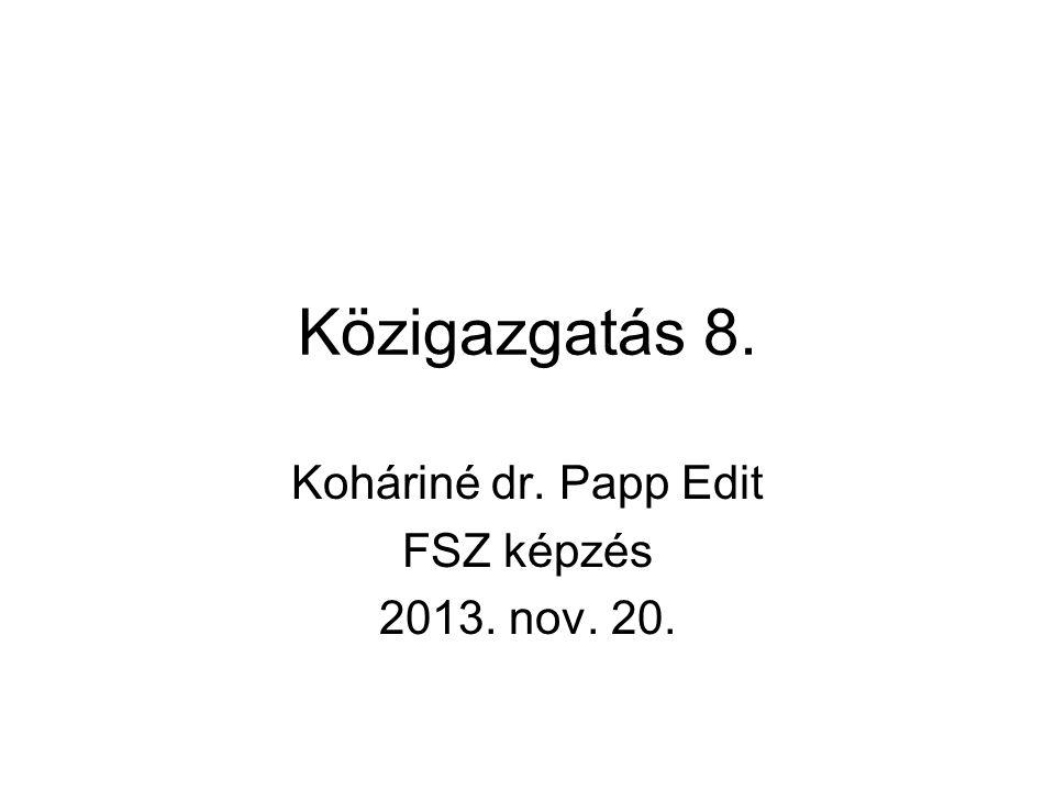 Közigazgatás 8. Koháriné dr. Papp Edit FSZ képzés 2013. nov. 20.