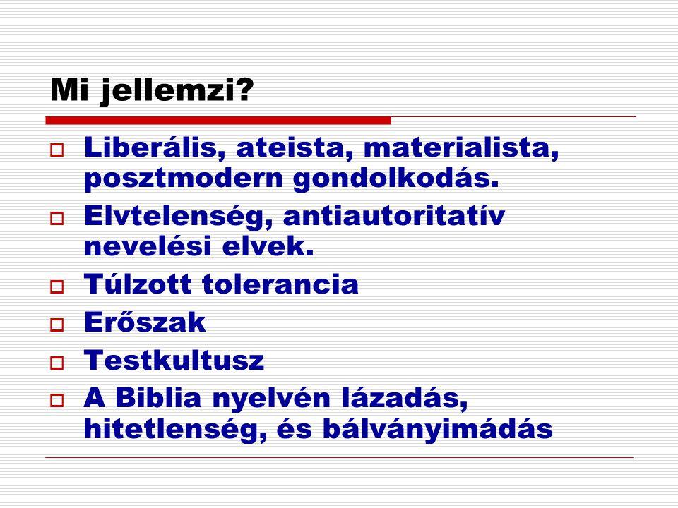 Mi jellemzi?  Liberális, ateista, materialista, posztmodern gondolkodás.  Elvtelenség, antiautoritatív nevelési elvek.  Túlzott tolerancia  Erősza