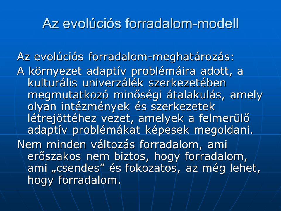 Az evolúciós forradalom-modell Az evolúciós forradalom-meghatározás: A környezet adaptív problémáira adott, a kulturális univerzálék szerkezetében megmutatkozó minőségi átalakulás, amely olyan intézmények és szerkezetek létrejöttéhez vezet, amelyek a felmerülő adaptív problémákat képesek megoldani.