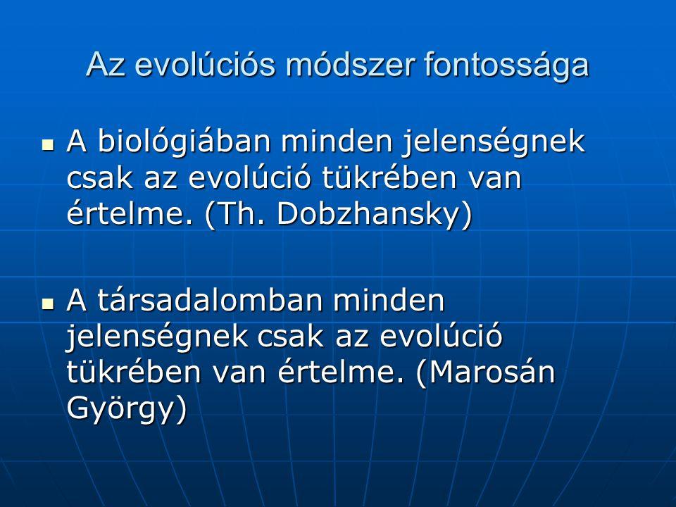 Az evolúciós módszer fontossága A biológiában minden jelenségnek csak az evolúció tükrében van értelme.
