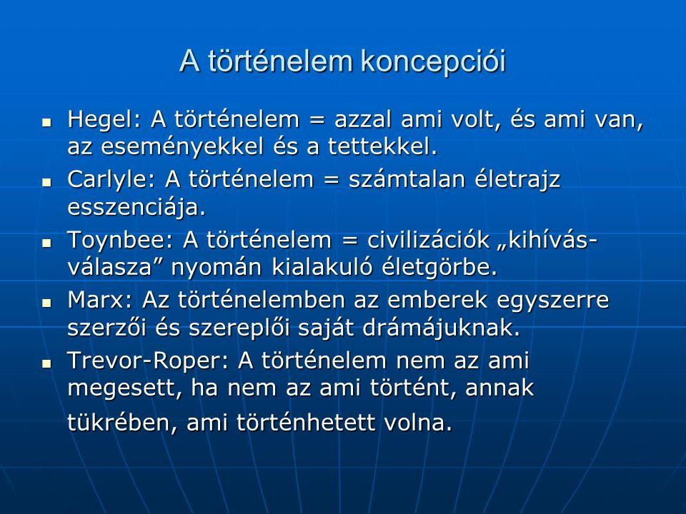 A történelem koncepciói Hegel: A történelem = azzal ami volt, és ami van, az eseményekkel és a tettekkel.
