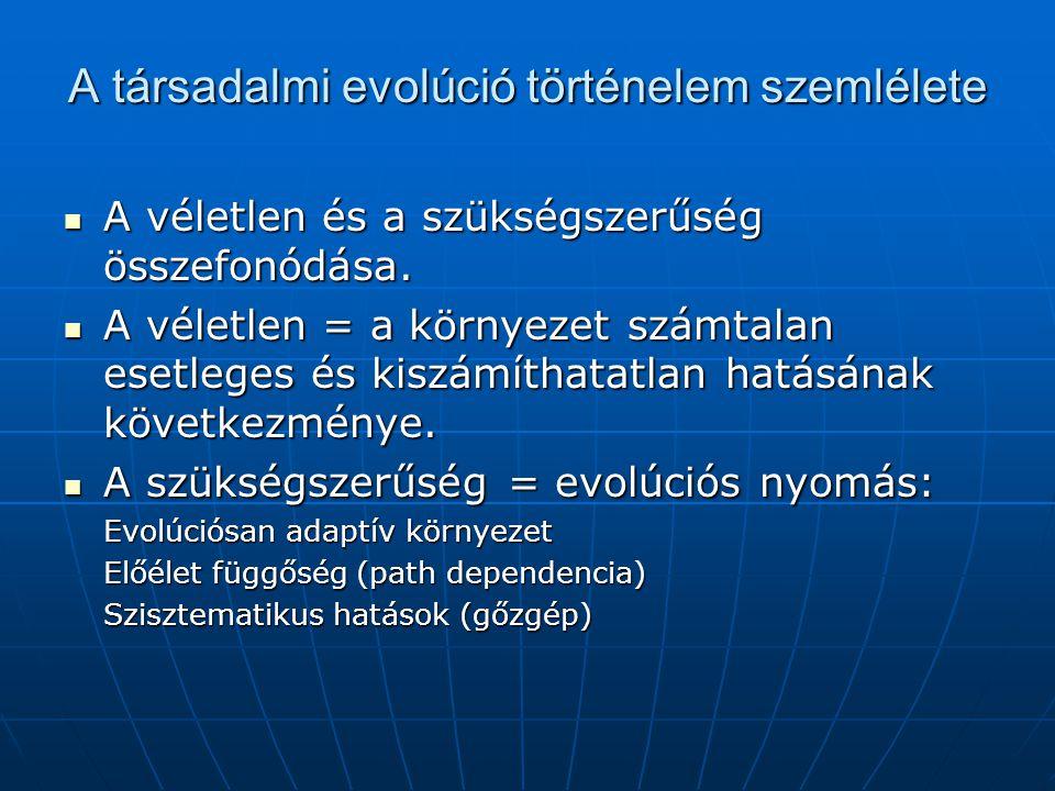A társadalmi evolúció történelem szemlélete A véletlen és a szükségszerűség összefonódása.