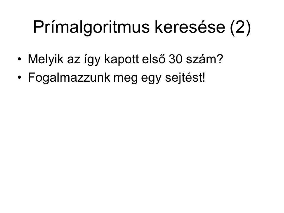 Prímalgoritmus keresése (2) Melyik az így kapott első 30 szám? Fogalmazzunk meg egy sejtést!