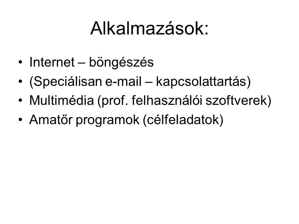 Alkalmazások: Internet – böngészés (Speciálisan e-mail – kapcsolattartás) Multimédia (prof. felhasználói szoftverek) Amatőr programok (célfeladatok)