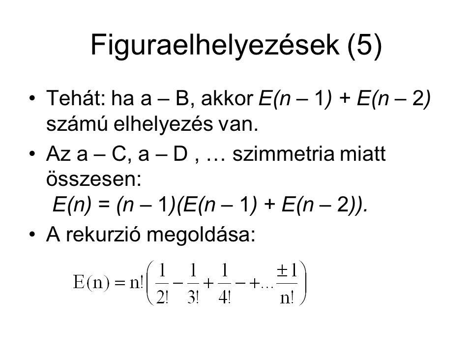 Figuraelhelyezések (5) Tehát: ha a – B, akkor E(n – 1) + E(n – 2) számú elhelyezés van. Az a – C, a – D, … szimmetria miatt összesen: E(n) = (n – 1)(E