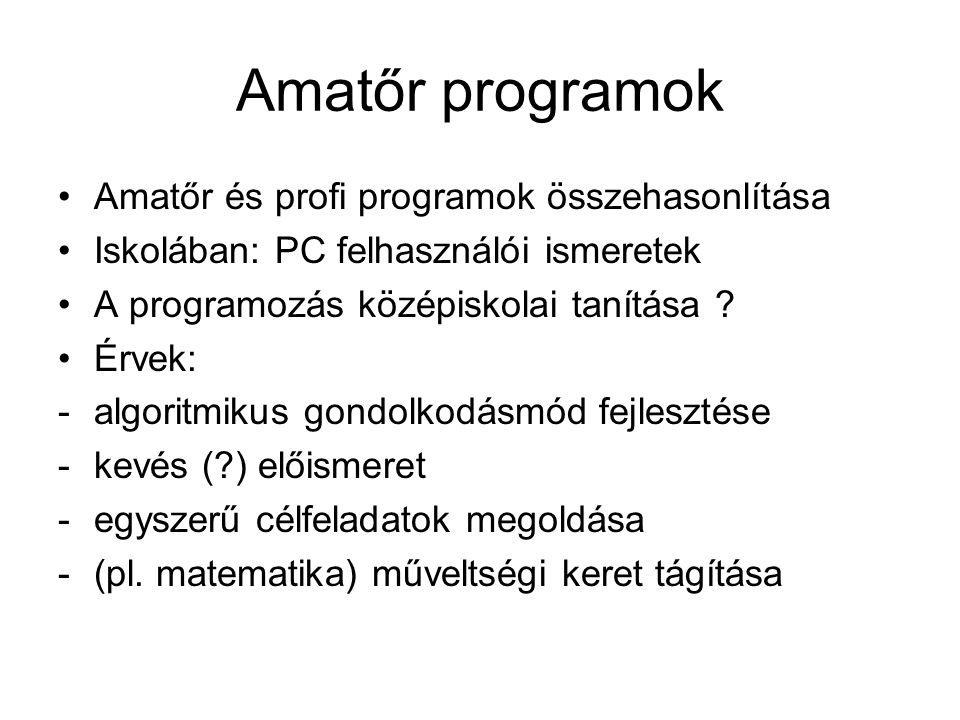 Amatőr programok Amatőr és profi programok összehasonlítása Iskolában: PC felhasználói ismeretek A programozás középiskolai tanítása ? Érvek: -algorit