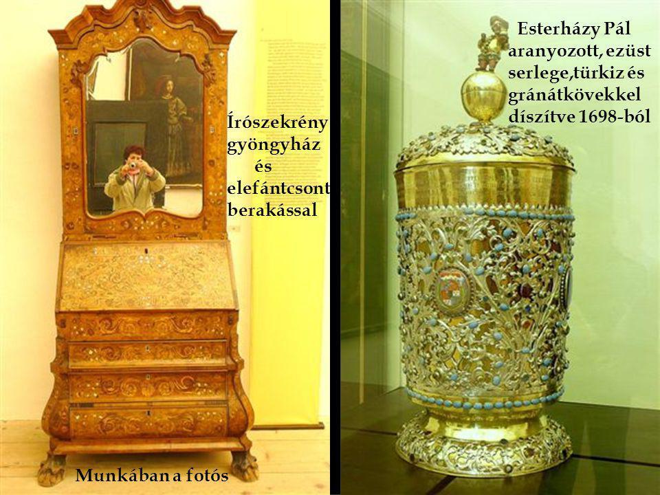 ából Ébenfa kabinetszekrény, gyöngy- ház és teknősbékapáncél diszí- téssel, 1774 óta van a várban