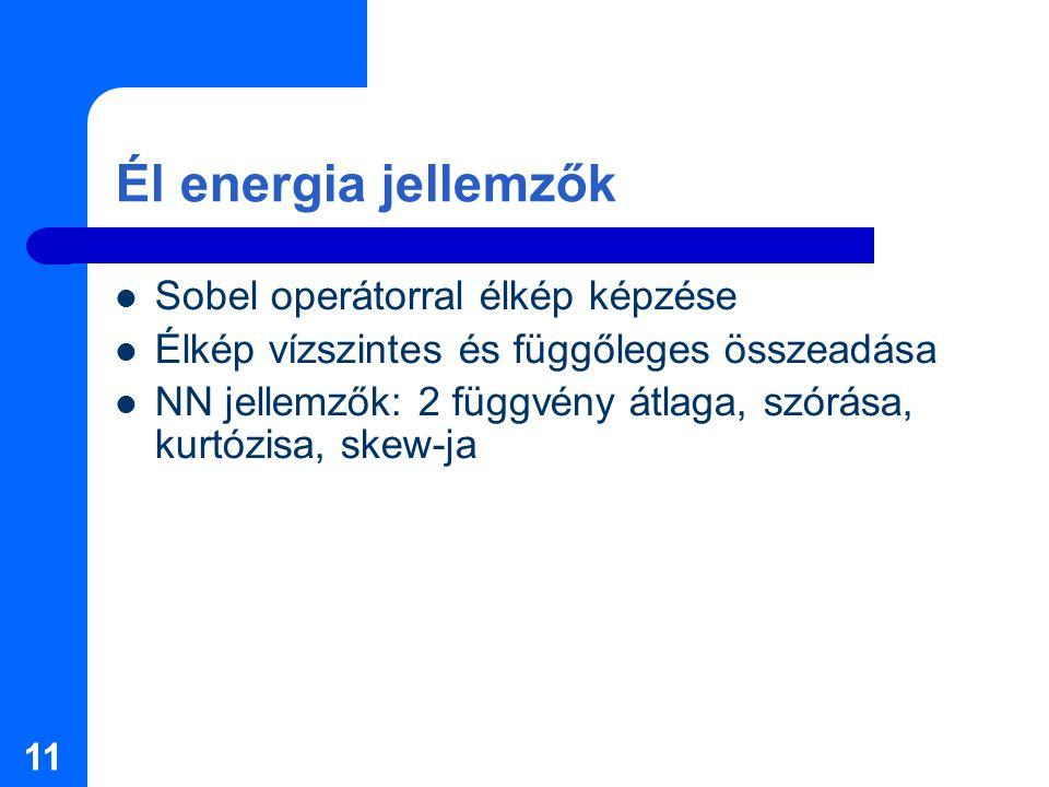 11 Él energia jellemzők Sobel operátorral élkép képzése Élkép vízszintes és függőleges összeadása NN jellemzők: 2 függvény átlaga, szórása, kurtózisa, skew-ja
