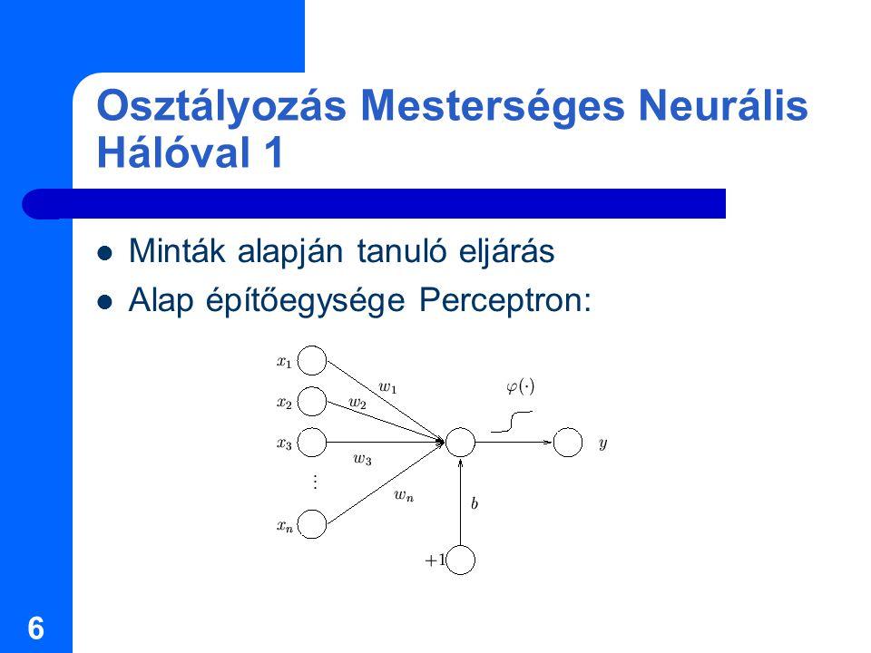 6 Osztályozás Mesterséges Neurális Hálóval 1 Minták alapján tanuló eljárás Alap építőegysége Perceptron: