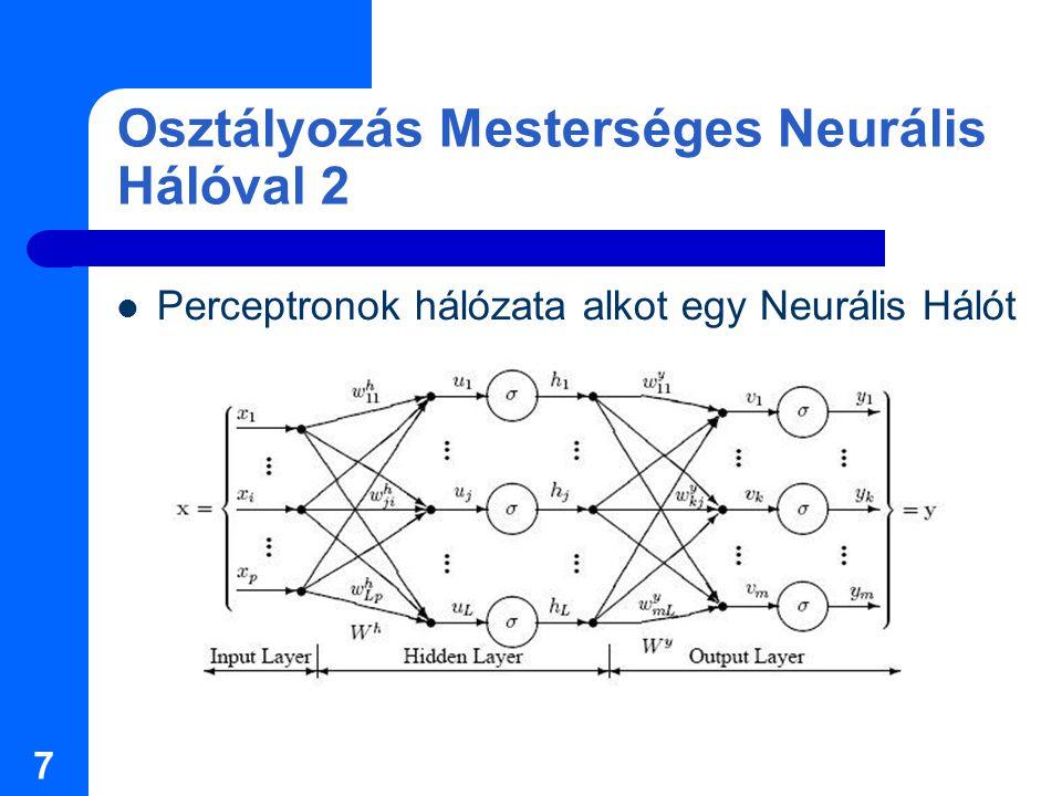 8 Neurális Hálóhoz kinyert jellemzők Binárisá alakított kép jellemzői: maximális objektumméret, minimális méret, átlag, … Intenzitás (0-255) jellemzők: átlag, szórás, kurtózis Kép hisztogramjának entrópiája: