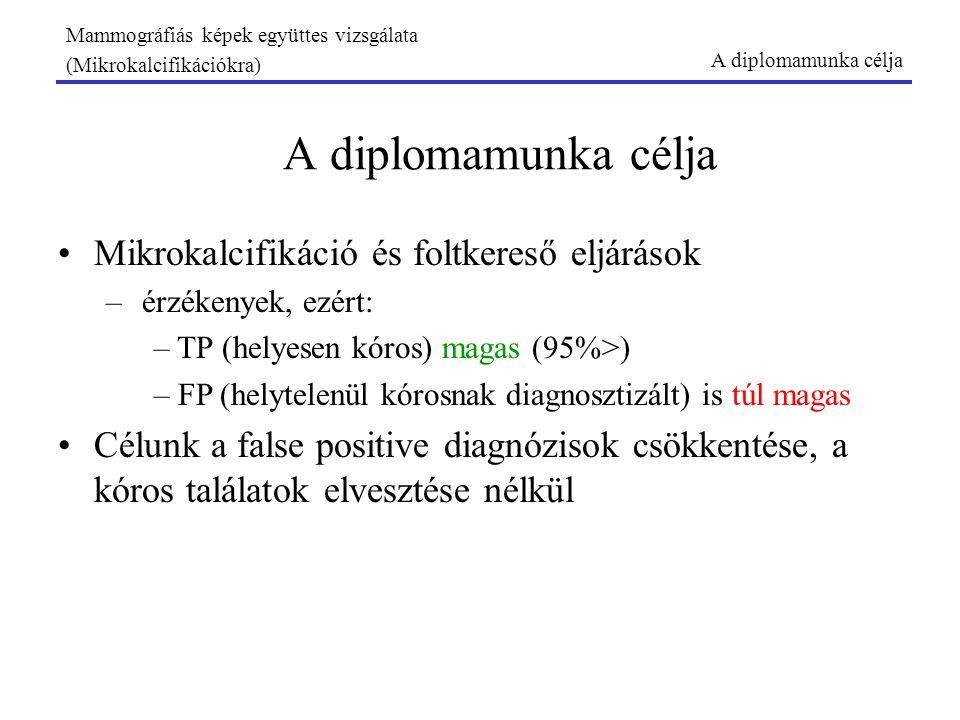 Mammográfiás képek együttes vizsgálata (Mikrokalcifikációkra) A diplomamunka célja Mikrokalcifikáció és foltkereső eljárások –érzékenyek, ezért: – TP