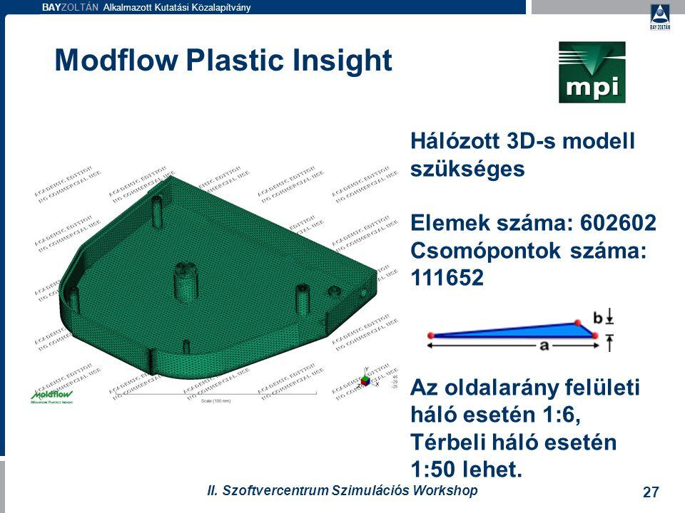 BAYZOLTÁN Alkalmazott Kutatási Közalapítvány 27 II. Szoftvercentrum Szimulációs Workshop Modflow Plastic Insight Hálózott 3D-s modell szükséges Elemek