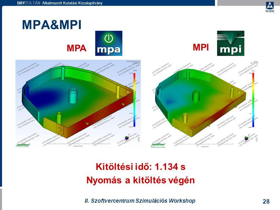 BAYZOLTÁN Alkalmazott Kutatási Közalapítvány 28 II. Szoftvercentrum Szimulációs Workshop MPA MPI Kitöltési idő: 1.134 s Nyomás a kitöltés végén MPA&MP