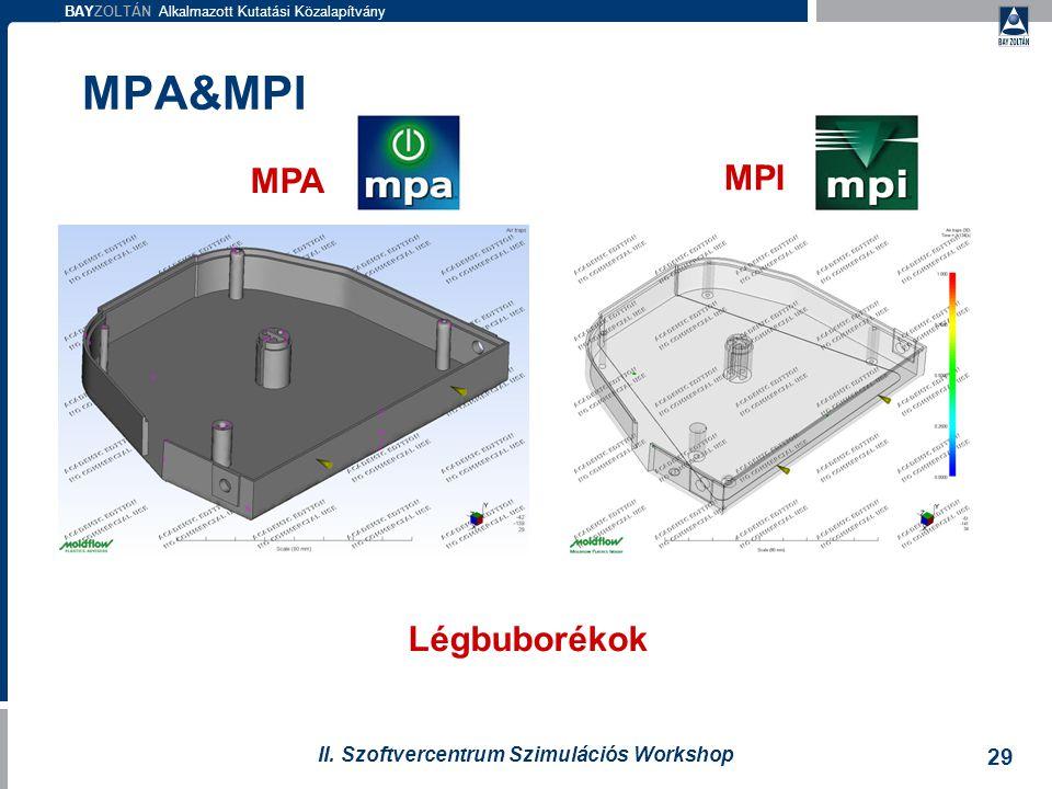 BAYZOLTÁN Alkalmazott Kutatási Közalapítvány 29 II. Szoftvercentrum Szimulációs Workshop MPA MPI Légbuborékok MPA&MPI