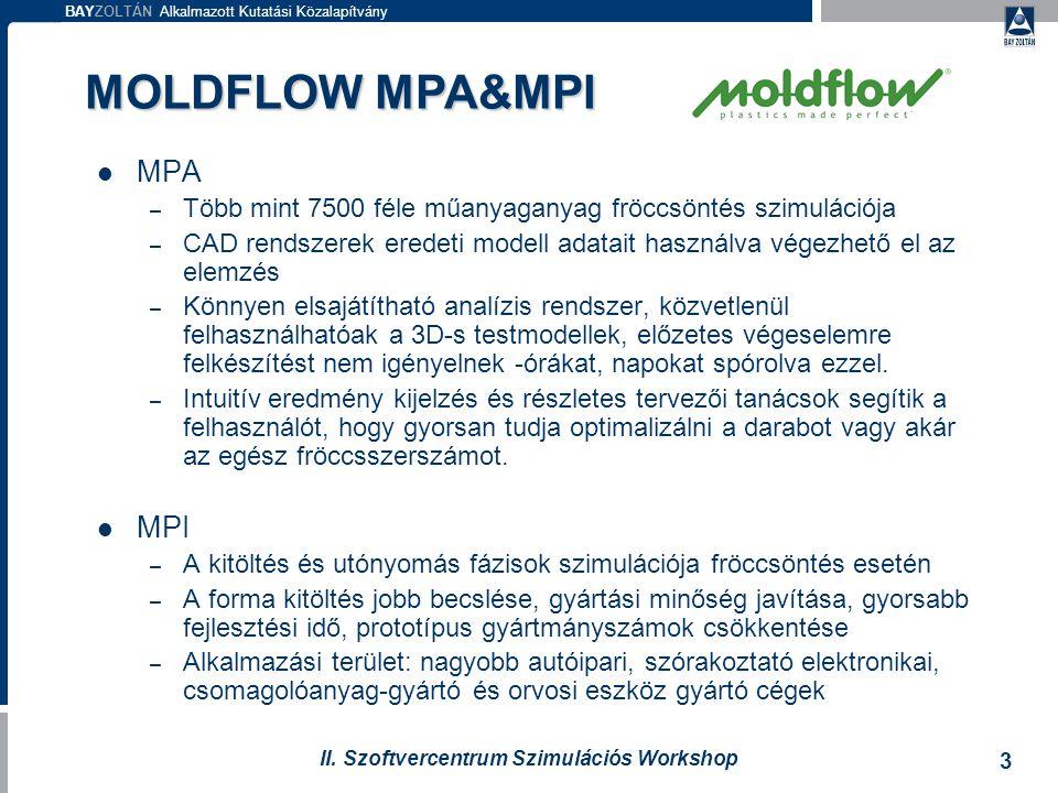 BAYZOLTÁN Alkalmazott Kutatási Közalapítvány 3 II. Szoftvercentrum Szimulációs Workshop MPA – Több mint 7500 féle műanyaganyag fröccsöntés szimulációj